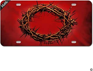 Migsrater License Plate Cover Personalized Metal Plate for Car - Decorative Front License Plate Cover (4 Holes, Silver)- Crown of Thorns Red