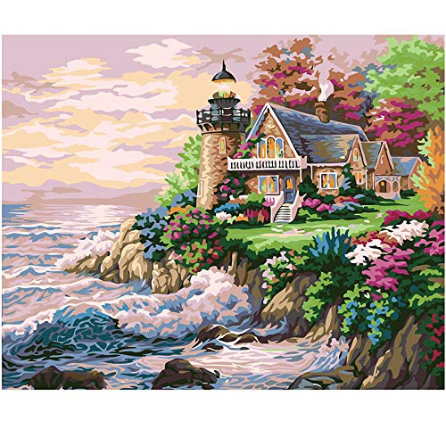 Beach Villa Masterpiece by Numbers with Brushes and Acrylic Pigment,15.6x19.5 inch Paint by Numbers for Beginners for Adults Kids Beginners, Home Wall Decoration(Without Frame)