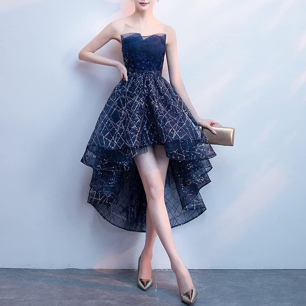 XJJZS Banquet Evening Dress Hostess Starry Sky Gradient Temperament Short Tube Top Dress Bridesmaid Dress (Color : Blue, Size : S Code)