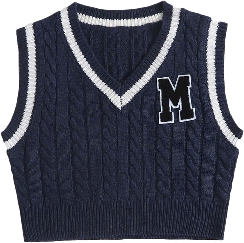 MakeMeChic Women's Letter Embroidery Sleeveless V Neck Knit Crop Sweater Vest