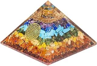 Pura Esprit Energy Generator Orgone Pyramid Emf Protection – Flower of Life 7 Chakra Pyramid Crystals and Healing Stones O...