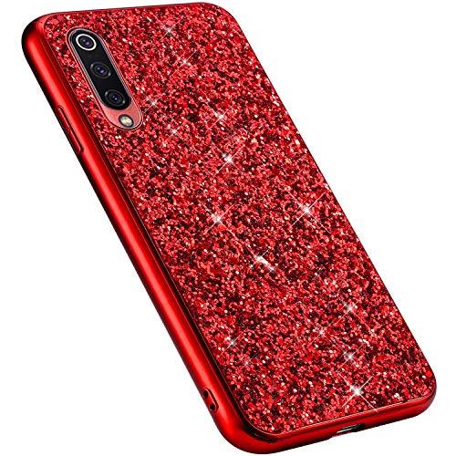 MoreChioce kompatibel mit Xiaomi 9 Hülle,Xiaomi 9 Handyhülle,Rot Chrom Glitzer Strass Silikon Bumper Schutzhülle Kratzfeste Durchsichtig Tasche Hybrid Protective Back Cover Defender