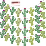 32 Pcs/31.2' (4 Pack) Fiesta Bachelorette Graduation Party Cactus Banner Garland Backgound String Cactus Glitter Green for Kids Birthday Summer Tropical Wedding Taco Cinco De Mayo Party Decor Favor