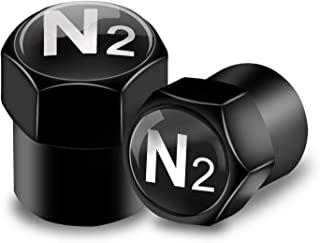 N2 Tire Valve Caps Black Air Dust Covers with Rubber Seal,Hexagon,Easy Grip,Universal fit Car,SUV,Motorcycle,Truck,Bike,Leakproof,Airtight,Dustproof,Outdoors,All Weather(6 Pack)