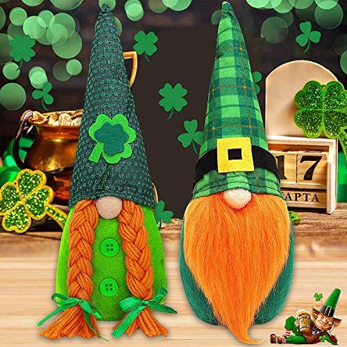 2 figuras de elfos verdes hechas a mano, juguete de peluche para decoración del día de San Patricio y Pascua.