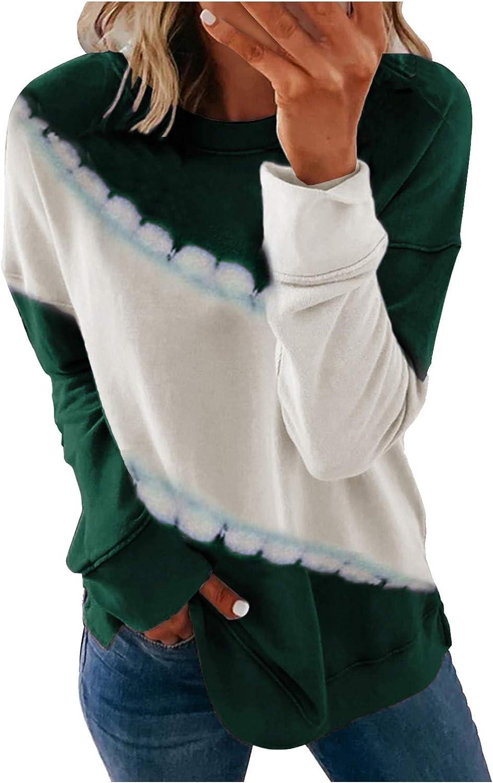 Womens Long Sleeve Tops,Womens Crewneck Sweatshirts Long Sleeve Oversized Cute Fashine Print Color Matching Pullover