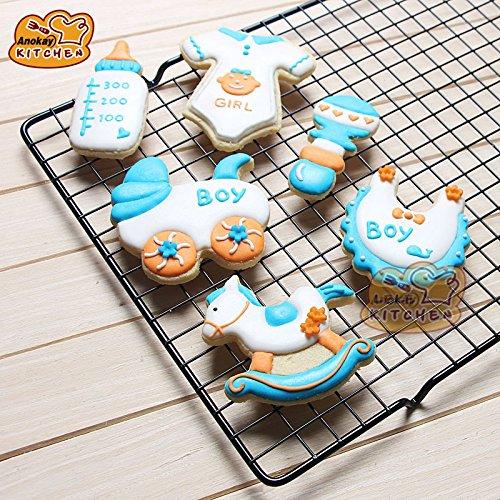 Anokay Juego de 6 moldes para galletas, diseño de bebé, acero inoxidable, accesorios para decorar galletas-