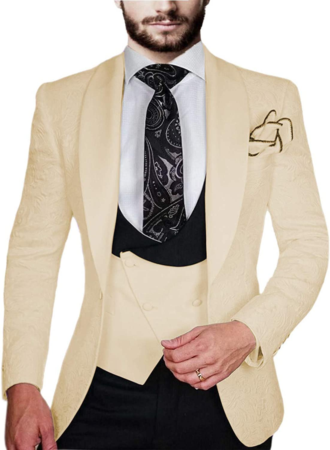 Aesido Men's Suits Slim Fit 3 Piece Classic Double Breasted Prom Tuxedos Dinner Jacket Wedding Grooms (Blazer+Vest+Pants)