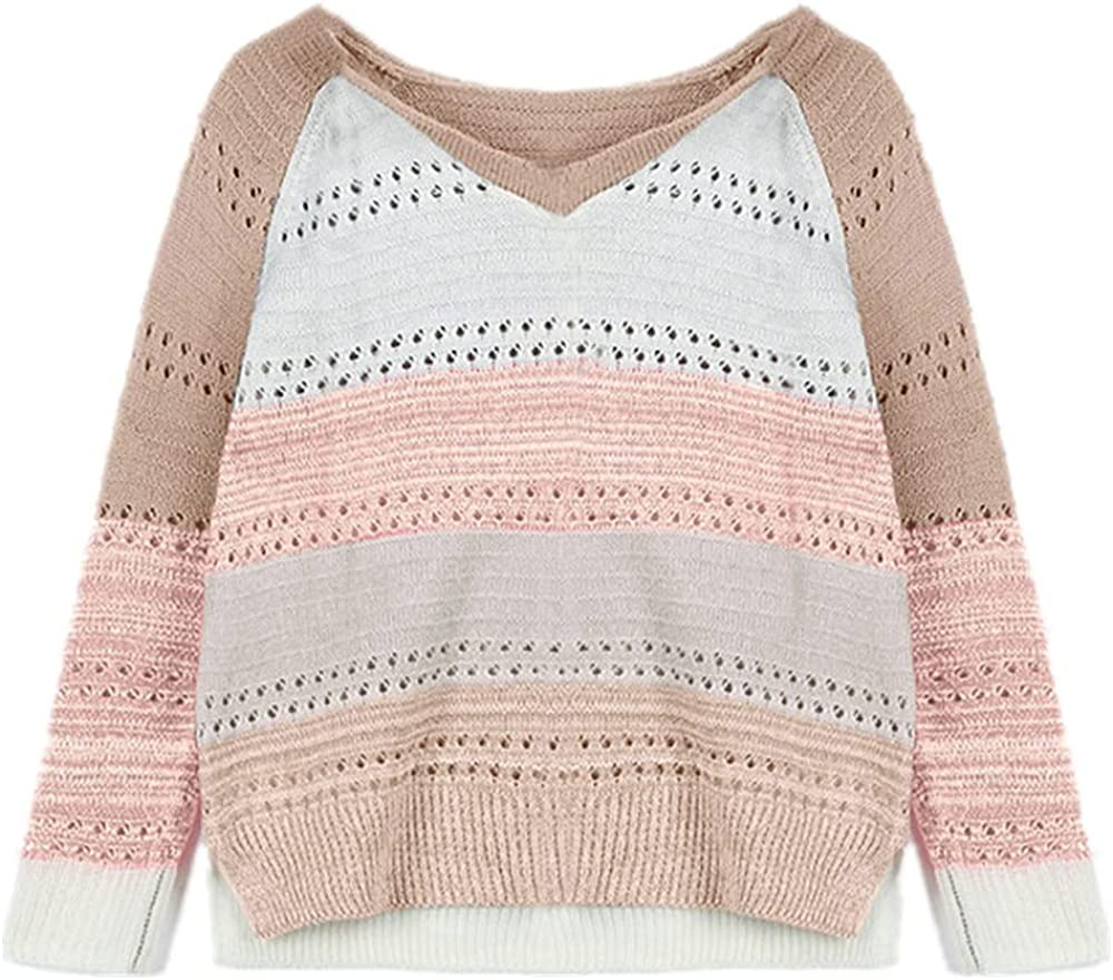 NP Sweaters Women Casual Long Sleeves Sweater Blouse Loose Casual Stitching Hollow