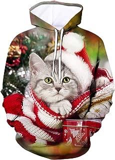 Men 3D Printed Galaxy Pattern Plus Size Hooded Sweatshirt Christmas Outwear