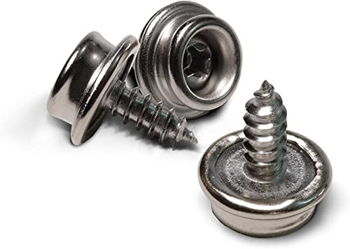 """Boat Canvas Snaps 3/8"""" Inch Diameter, 8 x 3/8"""" Screw (20pc), Stainless Steel, by Bolt Dropper."""