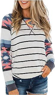 catmoew Camiseta Estampada de Rayas Arcoiris para Mujer Cuello Redondo Moda Manga Larga Casual Sudaderas Jersey Mujer Otoñ...