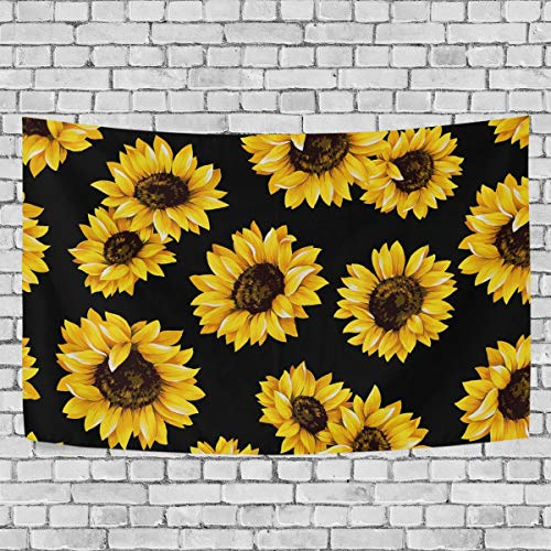 Baofu Sunflower Tapestry Wall Hanging Tapestries Happy Colorful Hippie Psychedelic Art Polyester Carpet Christmas Decorative for Living Room Bedroom 90x60inch