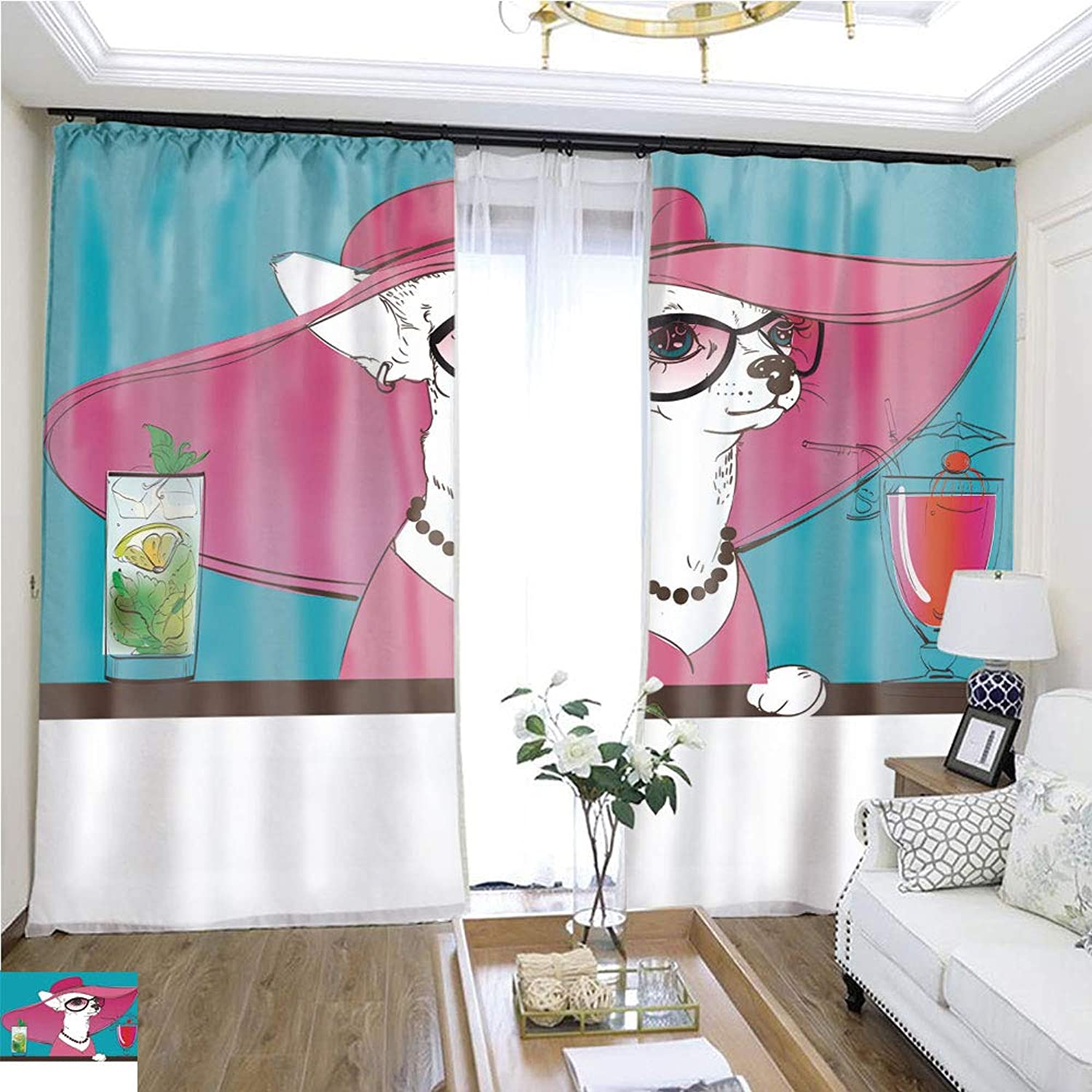 Air Port Screen Cute Portrait of a Toy Terrier W108 x L84 Block The Sun Highprecision Curtains for bedrooms Living Rooms Kitchens etc.