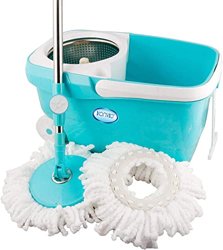 KONVIO Spin Mop Bucket With 180 Degree Bendable Handle Cleaning Mop Set With Bucket Floor Cleaning Mop Bucket With Steel Spin And 2 Microfiber Refills For Home Office Purpose