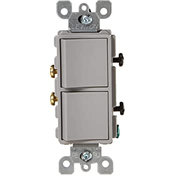 Leviton 5634-GY 15 Amp, 120/277 Volt, Decora Brand Style Single-Pole, AC  Combination Switch, Commercial Grade, Grounding, Gray - Wall Light Switches  - Amazon.comAmazon.com