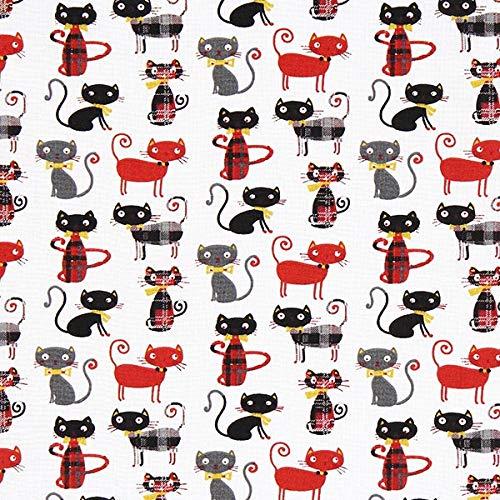 Cretonne Katze 1 – signalrot — Meterware ab 0,5m — STANDARD 100 by OEKO-TEX® Produktklasse I — zum Nähen von Taschen, Kissen/Tagesdecken & Bettwäsche
