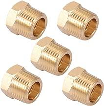 Brass Pipe Fitting,3/8 Inch NPT Male to 1/4 Inch NPT Female Brass Pipe Hose Tube Fitting Hex Head Bushing Adapter Convert (5, 1/4 NPT Female x 3/8 NPT Male)