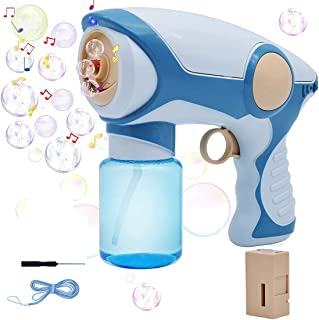 Amycute Bubble Machine - Automatic Bubble Blower Portable Bubble Maker Bubble Gun for Kids and Babies with Light and Music, Battery-Driven Bubble Toys with High Output for Parties Birthdays