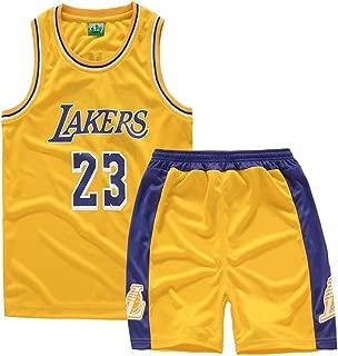 AILTAL Boy's Basketball Jersey Set,NBA Lakers 23 James Kid's Basketball Uniform Men's Mesh Quick-Drying Vest Training Uniform Jersey Shorts,Yellow,M