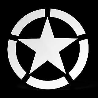 Erreinge Sticker Star Militär Weiße Armee Schriftzug In PVC Wandwand Aufkleber für Helm Auto Moto Camper Laptop   10 Cm