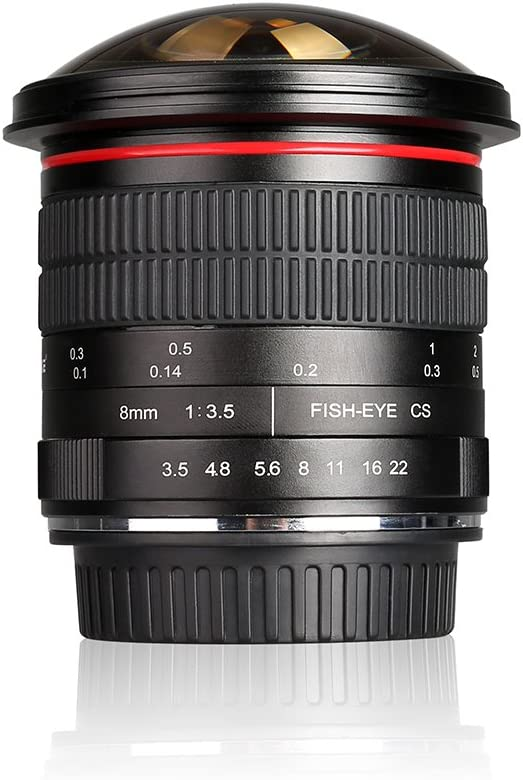 Meike 8mm f/3.5 Ultra Wide Angle Manual Focus Rectangle Fisheye Lens for APS-C DSLR Nikon D500 D3400 D5200 D7200 D7500 DSLR Cameras