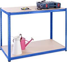 90cm x 120cm x 60cm, Blauw 2 Tier 300KG Per Plank), 600KG Capaciteit Garage Shed Werkbank, 5 Jaar Garantie