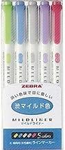 Zebra NC5 Highlighter Mildliner, 5 Color Set (WKT7-5C-NC)