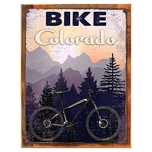 OMSigns Framed Bike Colorado 12'x16' Metal Sign, Biking, Retro, Mountain Bike, Hand-Crafted from Reclaimed Materials
