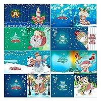 Tooart 8pcs 5DDIYダイヤモンドペインティングクリスマスカードハロウィーンクリスマス誕生日グリーティングカード封筒とツール付きアートクラフト手作りギフト子供家族の友達