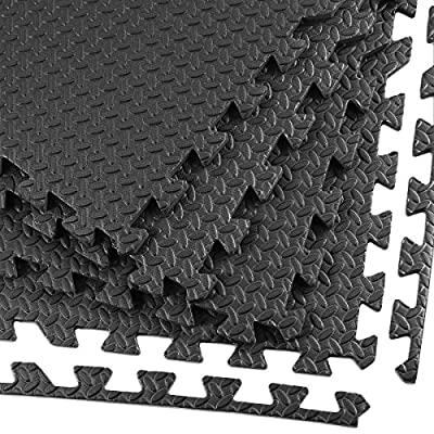 """Clevr 3/8"""" Thick 100 sq. ft (25 pcs) Interlocking Gym EVA Foam Floor Mat Tiles (24"""" x 24"""") 