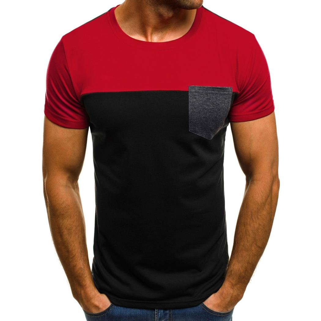 LuckyGirls Camisetas Hombre Originales Manga Corta Verano Moda Color de Hechizo Bolsillo Polos Personalidad Casual Remera Slim Camisas (S, Rojo): Amazon.es: Deportes y aire libre