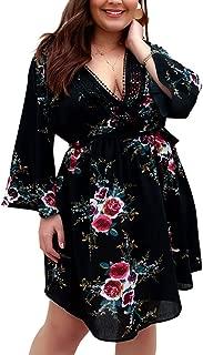 Holagift Women's Plus Size Floral Dresses Lace V-Neck 3/4 Long Sleeves Bohemian Belt Tie Wrap Casual Summer Party Beach Dress