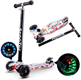 Kids Scooter 3 Wheel Mini Adjustable Kick Scooter with LED Light Up Wheels(Red And White)