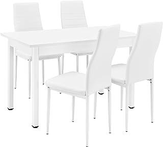 [en.casa] Table à Manger/Table de Cuisine/Table de Salle à Manger (120x60cm) avec 4 chaises Blanc rembourrées - Kit de Cha...