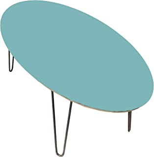 Coffee Table - MidCentury Modern - Multiple Colors Available - Oval Table - Hairpin Legs (48x24, Aquarium)