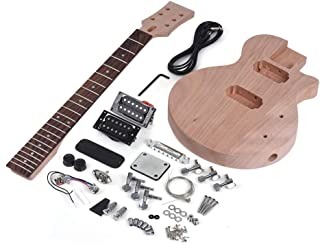 ZGHNAK Kit de bricolaje para guitarra eléctrica sin terminar Cuerpo y cuello de caoba Diapasón de