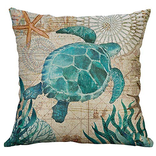Fineday Marine Life Coral Sea Turtle Seahorse Whale Octopus Cushion Cover Pillow Cover, Pillow Case, Home & Garden (G)