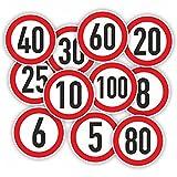 Geschwindigkeitsaufkleber / Rot / Bus / Auto / Anhänger / Ø 10cm (Wunschzahl)