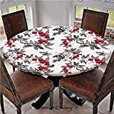 "Elastic Edged Polyester Fitted Table Cover,Abstract Modern Garden Theme with Artistic Rowan Plant Botanical Pattern Design Decorative,Fits up 40""-44"" Diameter Tables,The Ultimate Protection for Your T"