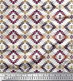 Soimoi Rojo seda artificial Tela azteca kilim tela estampada impresa por metro...