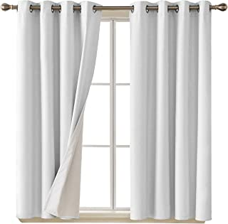 Deconovo Faux Linen Blackout Curtains with 3 Pass Coating Noise Reduction Curtain Thermal Insulated Room Darkening Curtains for Boys Room 52 x 45 Inch 2 Panels Star White