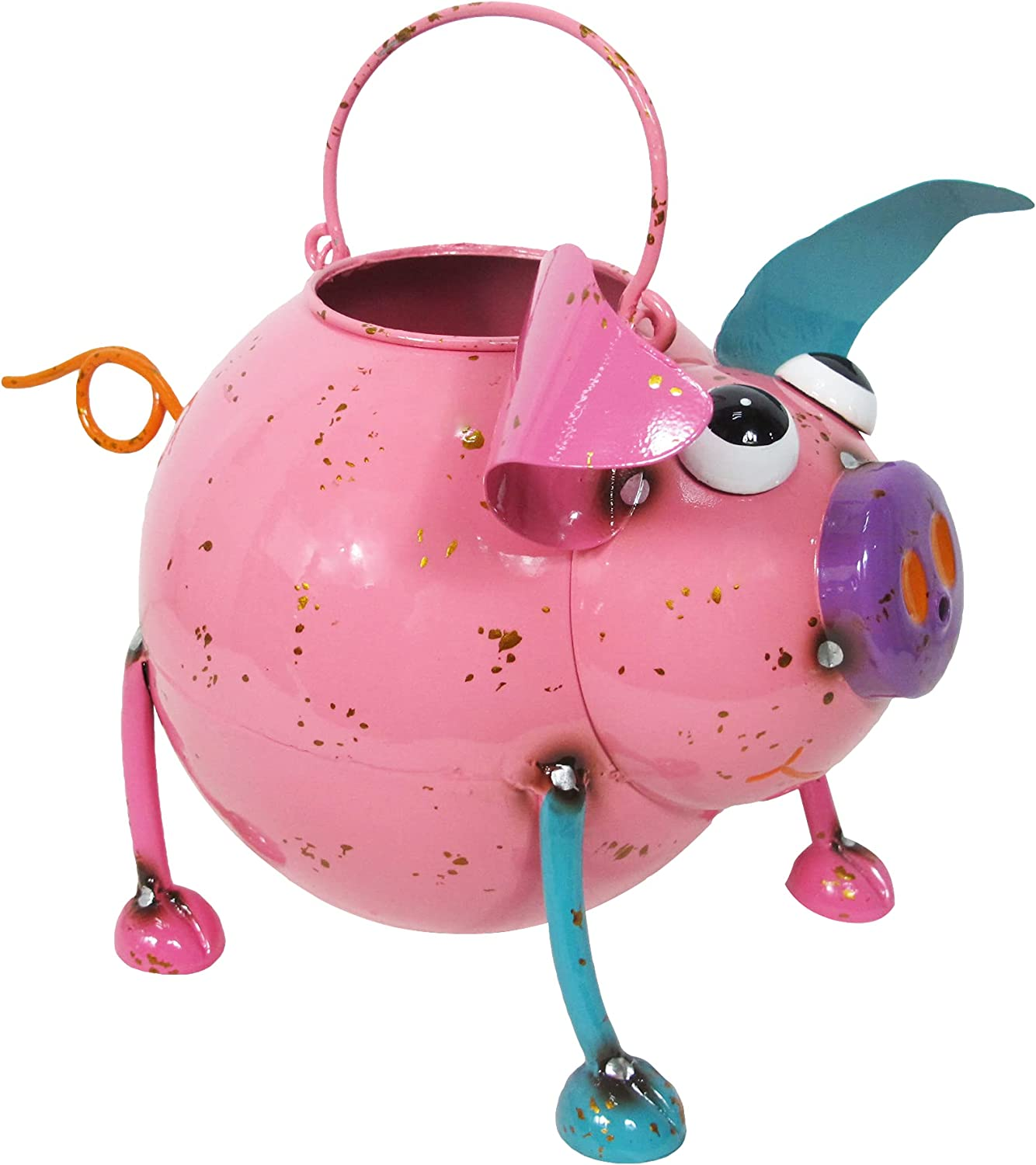 Fun Some reservation Colorful Enameled Metal Watering - Recommended Can Pig Art Continental