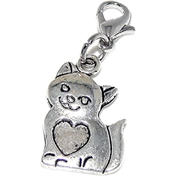 GemStorm Silver Plated Dangling Bow Clip On Lobster Clasp Charm
