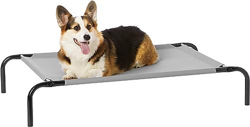 Amazon Basics - Lit surélevé rafraîchissant pour animaux, taille moyenne (110 x 65 x 19 cm), gris