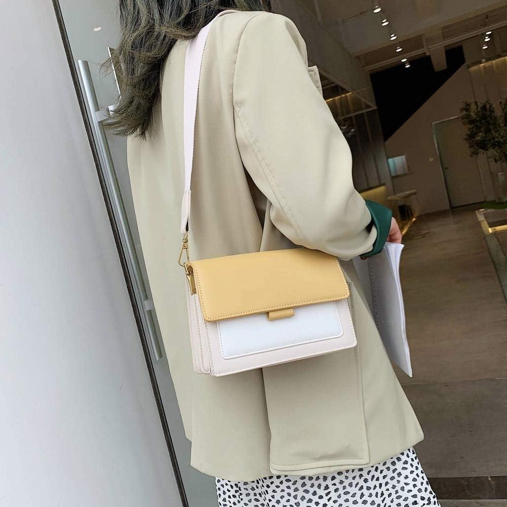 LOUYT Couleur Contrastée en Cuir Bandoulière Sacs pour Femmes 2019 Voyage Sac À Main De Mode Simple Épaule Messenger Sac Dames Mini Flap Sac Yellow