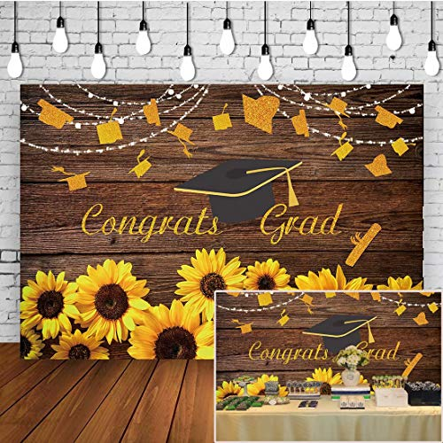 Class of 2021 Congrats Grad Backdrop Sunflowers Decorations Golden Glittering Wording Prom Party Banner Rustic Wood Board Graduation Cap Selfie Portrait Photography Background Booth Studio Props