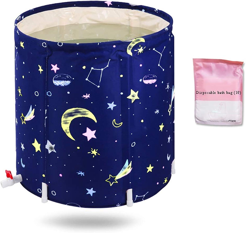 Adult Bath Barrel, Flower Bath Tub, Thicken Keep Warm Hot Water Bath Beauty Lose Weight Household Lazy Folding Tub 65×70cm (color   C)