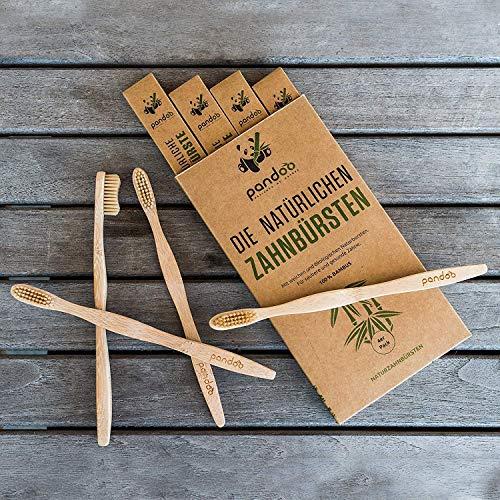 pandoo 4er-Sparset umweltfreundliche Hand-Zahnbürste | Für Erwachsene und Kinder (Mittel bis Weich) | Vegan, Bio, Holzfrei, BPA Frei | Bamboo Toothbrush - 2