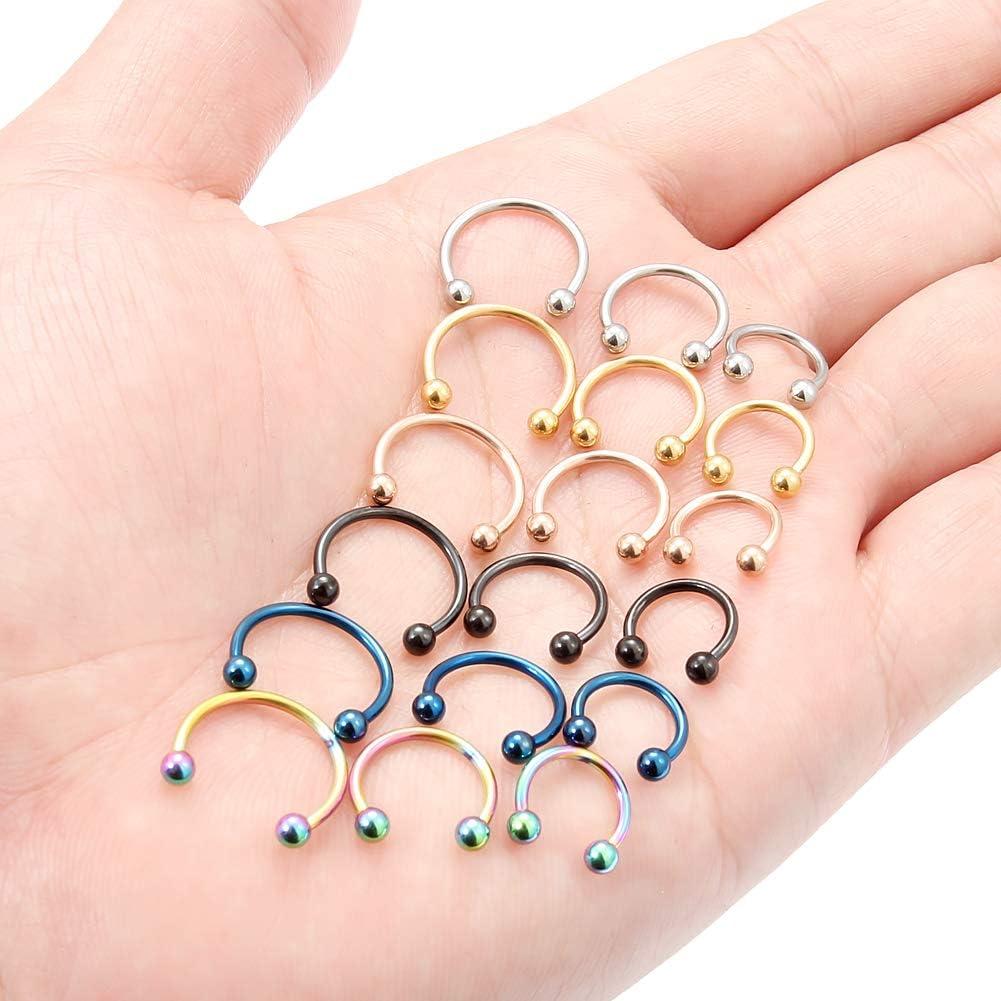 SCERRING 16G Nose Hoop Rings Stainless Steel Nose Horseshoe Hoop Rings Eyebrow Lip Ear Tragus Septum Piercing Jewelry Hanger Retainer 6-16mm 18-36PCS